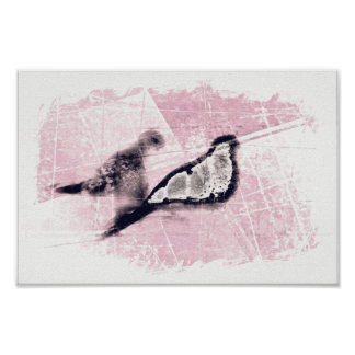 Two Birds White Pink Rose Gold Contemporary Art Poster
