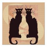 """Two Black Cats 5.25"""" Square Invitation Card"""