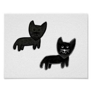 Two Black cats Poster