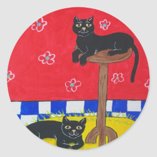 Two Black Cats Stickers