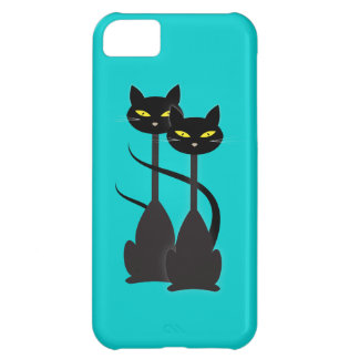 Two Black Cats with Long Necks on Teal Case For iPhone 5C