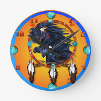 Two Black Horses Mandala Round Clock