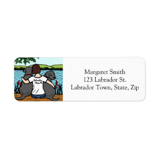 Two Black Labradors and Mom Short Return Address Label