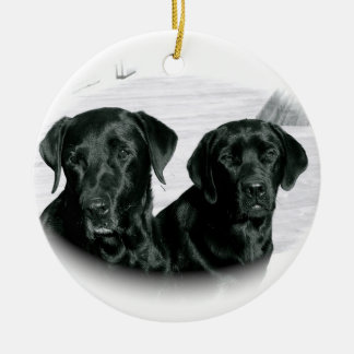 Two Black Labs Ornament