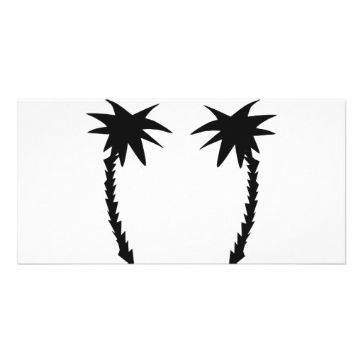 two black palms icon personalized photo card