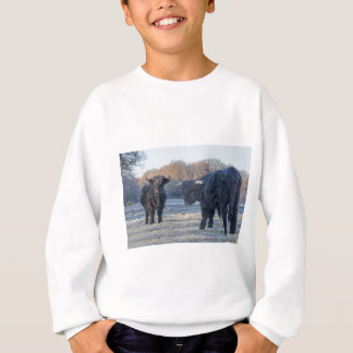 Two black scottish highlanders in frozen meadow sweatshirt