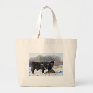 Two black scottish highlanders in winter snow large tote bag
