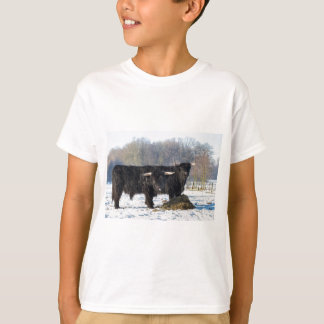 Two black scottish highlanders in winter snow T-Shirt