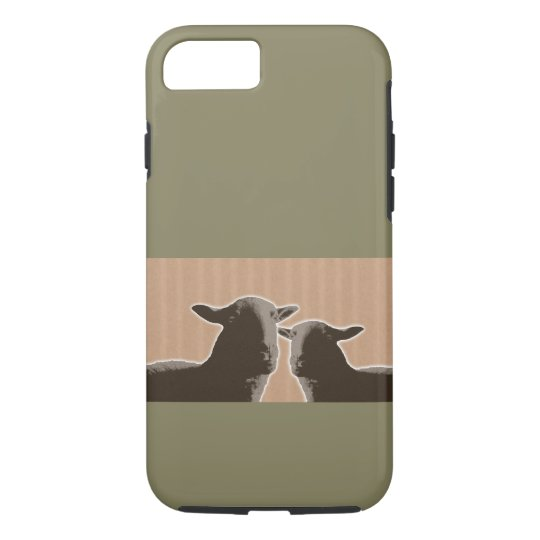 Two black sheep on tan and green background iPhone 8/7 case