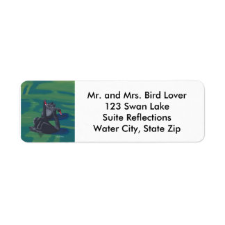 Two Black Swans Swimming Address Labels