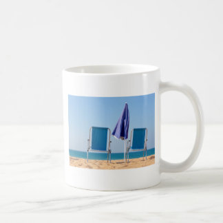 Two blue beach chairs and parasol at sea.JPG Coffee Mug