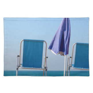 Two blue beach chairs and parasol at sea.JPG Placemat