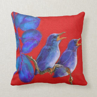 two blue birds-pillow throw pillow