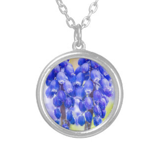 Two blue grape hyacinths in spring silver plated necklace