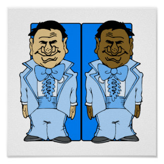 Two Blue Grooms Print