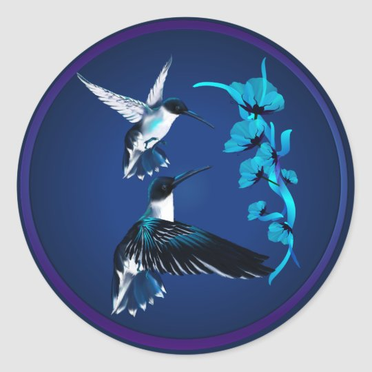 Two Blue Hummingbirds Sticker