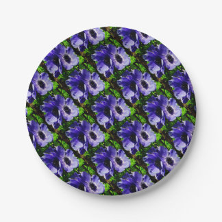 Two Blue Mauve Anemone - Close Up Windlowers 7 Inch Paper Plate