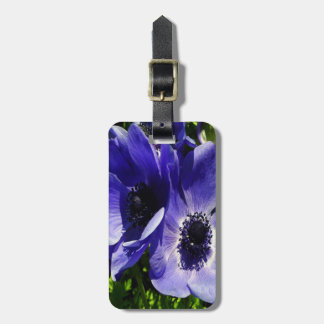 Two Blue Mauve Anemone - Close Up Windlowers Luggage Tag
