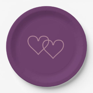 Two blueberry-colored hearts paper plate