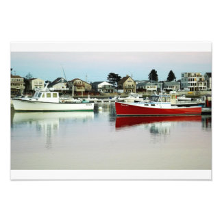 Two Boat's Reflections in the harbor. Wells Maine Photographic Print