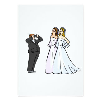 """Two Brides being Photographed 5"""" X 7"""" Invitation Card"""