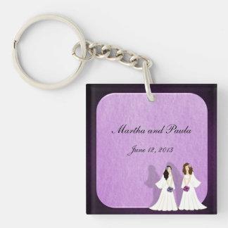 Two Brides Custom Lesbian Wedding Key Chain Favors