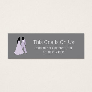 Two Brides Free Drink On Us (Lilac and Grey) Mini Business Card