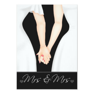 Two Brides In Dresses Lesbian Wedding Card