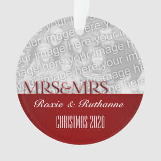 Two Brides Mrs & Mrs Red Damask Custom Photo Ornament