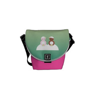 Two brides one caucasian one colored courier bag