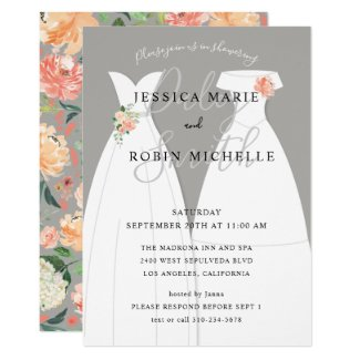 Two Brides Wedding Dress Lesbians Couples Shower Invitation
