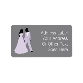 Two Brides Wedding (Lilac Grey) Personalized Label