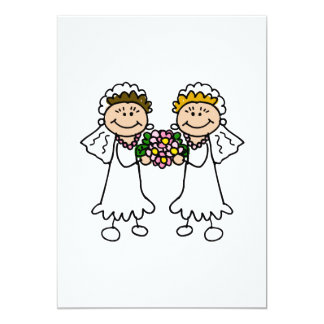 """Two Brides with Flowers 5"""" X 7"""" Invitation Card"""