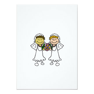 """Two Brides with Flowers - Interracial Asian 5"""" X 7"""" Invitation Card"""