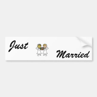 Two Brides with Flowers - Interracial Asian Bumper Sticker
