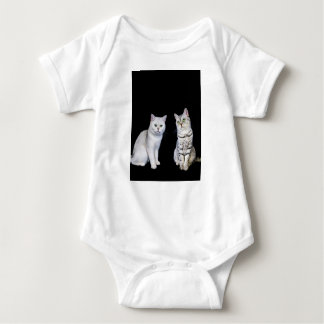 Two british short hair cats on black background baby bodysuit
