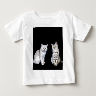 Two british short hair cats on black background baby T-Shirt