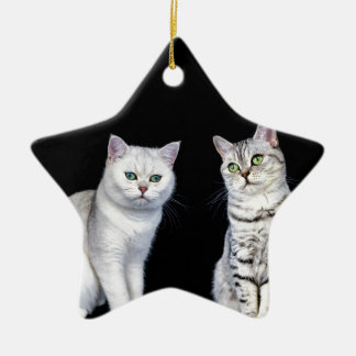 Two british short hair cats on black background ceramic ornament