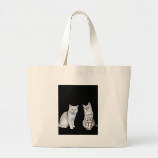 Two british short hair cats on black background large tote bag