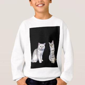 Two british short hair cats on black background sweatshirt