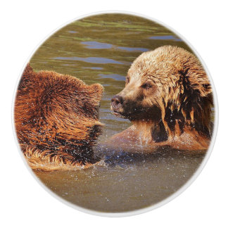 TWO BROWN BEARS IN WATER CERAMIC KNOB