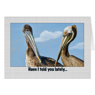 Two Brown Pelicans Love and Romance Greeting Card