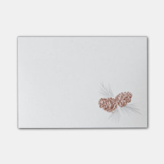 Two brown pine cones drawing art post it notes