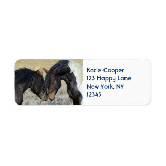 Two Brown Wild Horses Nuzzling Return Address Label