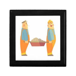 Two Builders With Barrow On Construction Site Gift Box