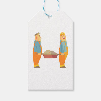 Two Builders With Barrow On Construction Site Gift Tags