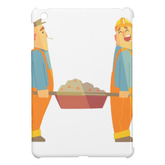 Two Builders With Barrow On Construction Site iPad Mini Covers