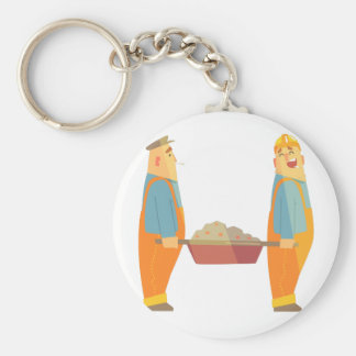 Two Builders With Barrow On Construction Site Keychain