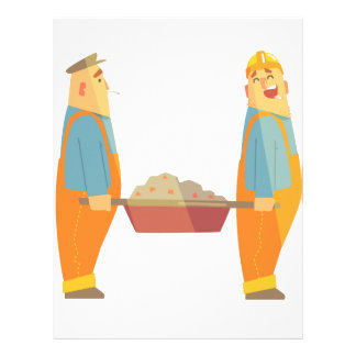 Two Builders With Barrow On Construction Site Letterhead