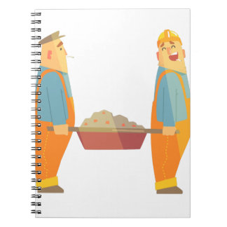 Two Builders With Barrow On Construction Site Notebook